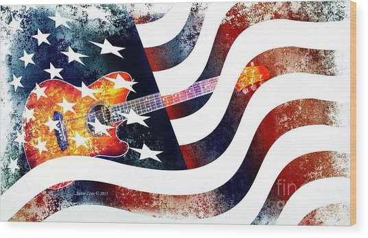 Country Music Guitar And American Flag Wood Print