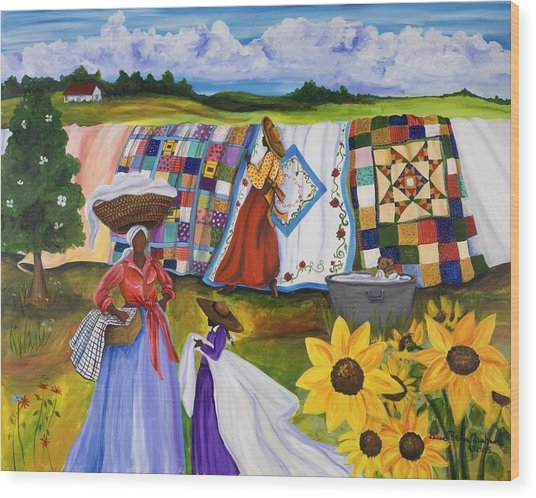 Country Quilts Wood Print