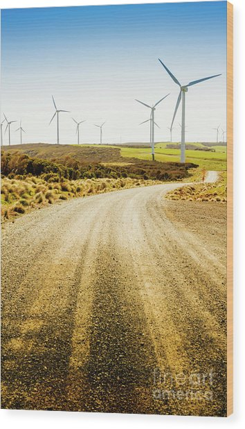 Country Roads And Scenic Windfarms Wood Print