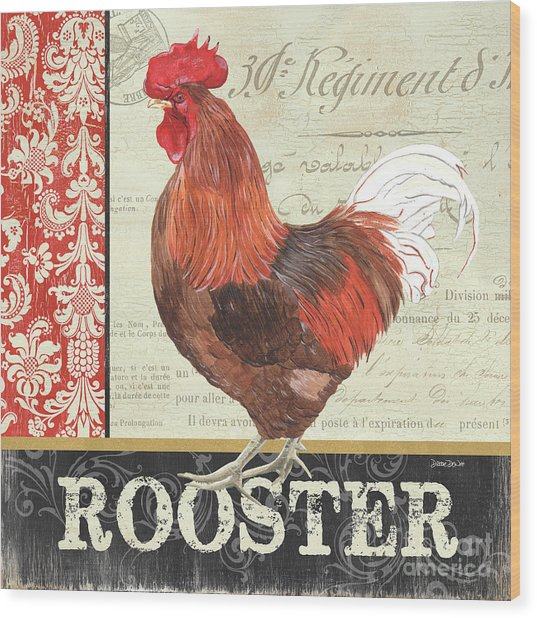 Country Rooster 2 Wood Print