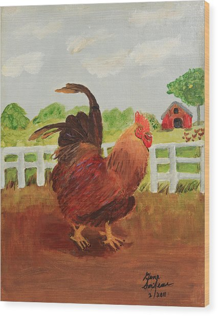Country Rooster Wood Print