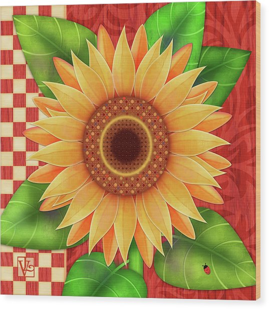 Country Sunflower Wood Print