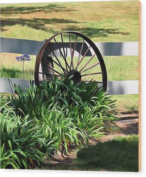 Country Wagon Wheel Wood Print