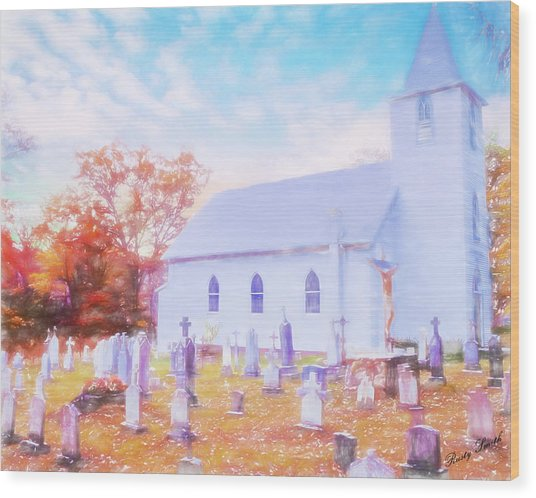 Country White Church And Old Cemetery. Wood Print