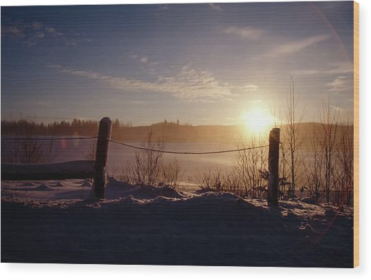 Country Winter Sunset Wood Print