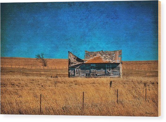 Countryside Abandoned House Wood Print