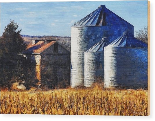 Countryside Old Barn And Silos Wood Print