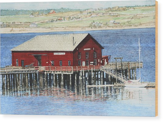 Coupeville Wharf Wood Print by Perry Woodfin