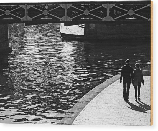 Wood Print featuring the photograph Couple And Canal by Adrian Pym