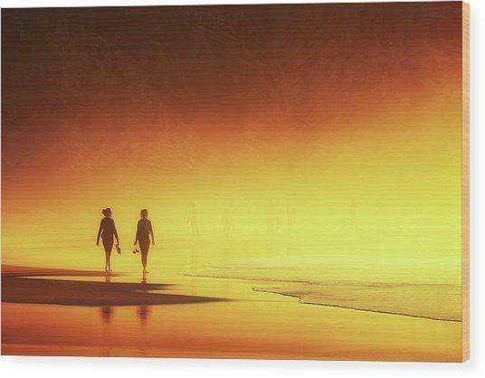 Couple Of Women Walking On Beach Wood Print
