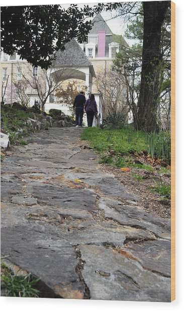 Couple On A Garden Path Wood Print