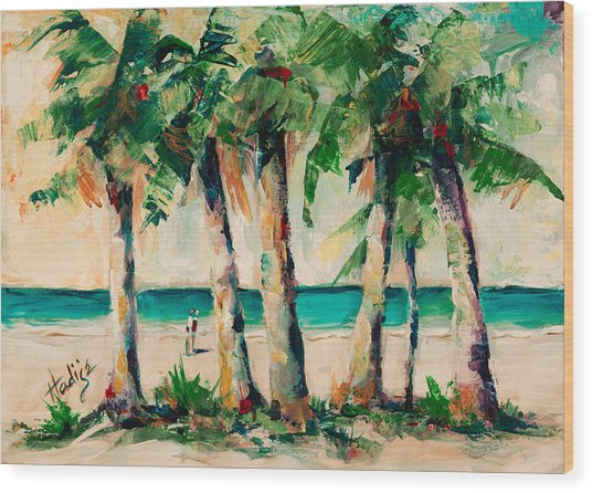 Couple Under Palm Trees Wood Print by Mary DuCharme