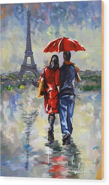 couple walking in the rain Paris Wood Print