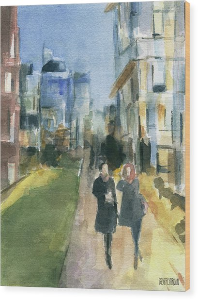 Couple Walking On The New York High Line Wood Print