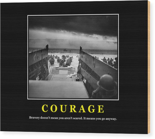 Courage -- D Day Poster Wood Print