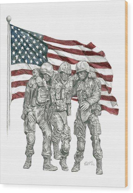 Courage In Brotherhood Wood Print