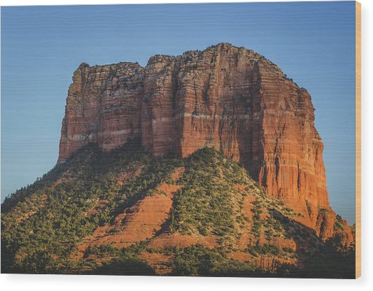 Courthouse Butte At Sunset Wood Print