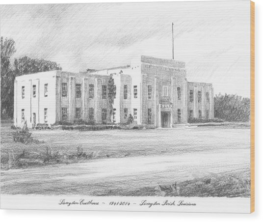 Courthouse Four Livingston Parish La Drawing Wood Print by Mike Theuer