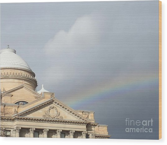 Courthouse Rainbow Wood Print