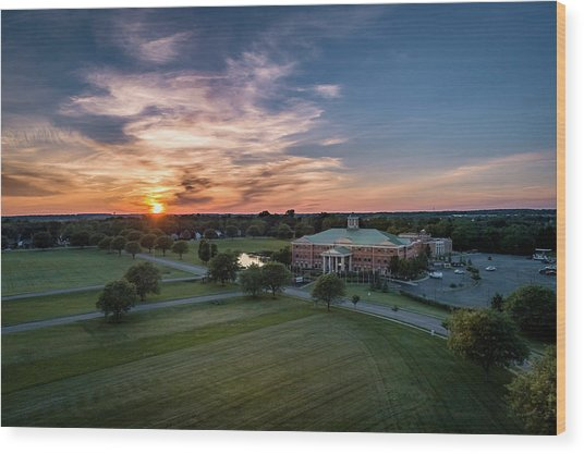 Courthouse Sunset Wood Print