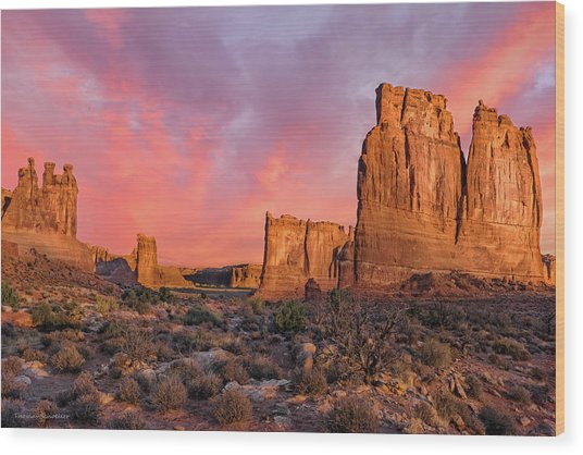 Courthouse Towers And Three Gossips Wood Print by T-S Fine Art Landscape Photography