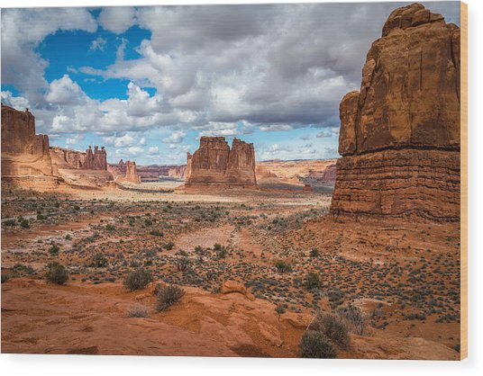 Courthouse Towers At Arches National Park Wood Print