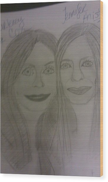 Courtney Cox And Jennifer Ansiton Wood Print