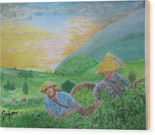 Courtship At The Tea-farm Wood Print by SAIGON De Manila