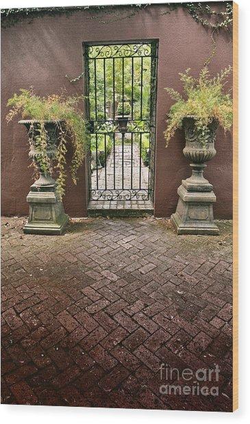 Courtyard Gateway Wood Print