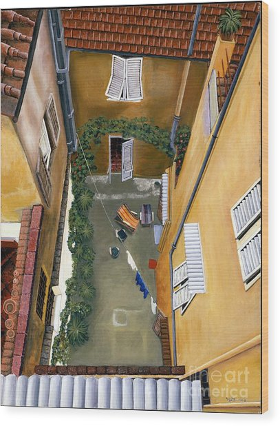 Courtyard In Milan Wood Print