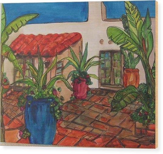 Courtyard In Rancho Santa Fe Wood Print by Michelle Gonzalez