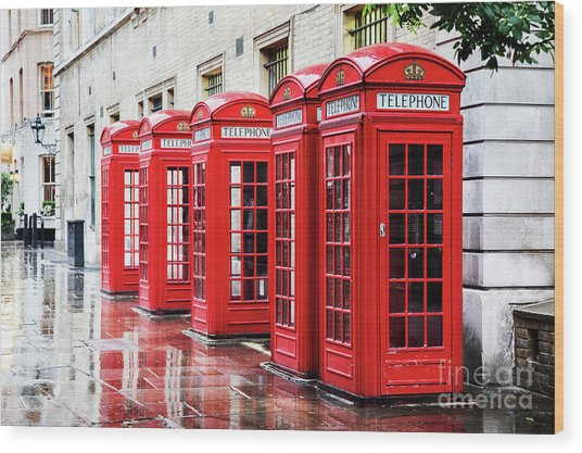 Covent Garden Phone Boxes Wood Print
