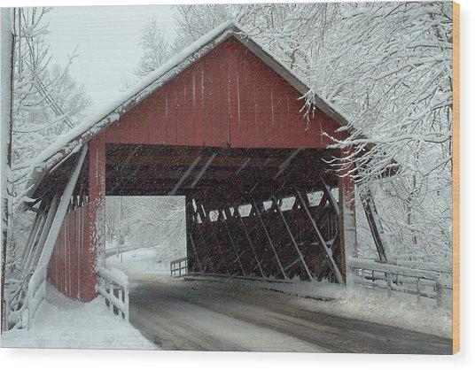 Covered Bridge In Snow Wood Print