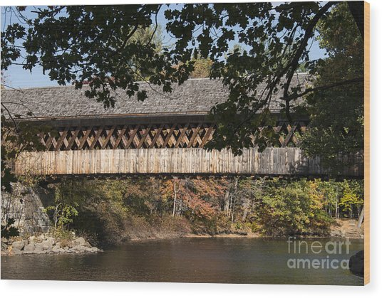 Covered Bridge Over The Contoocook River Wood Print