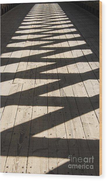 Covered Bridge Shadows Wood Print