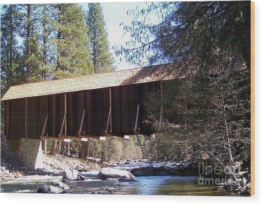 Covered Bridge Yosemite Wood Print by Marjorie Imbeau