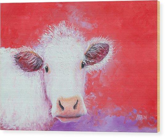 Cow Painting - Charolais Wood Print