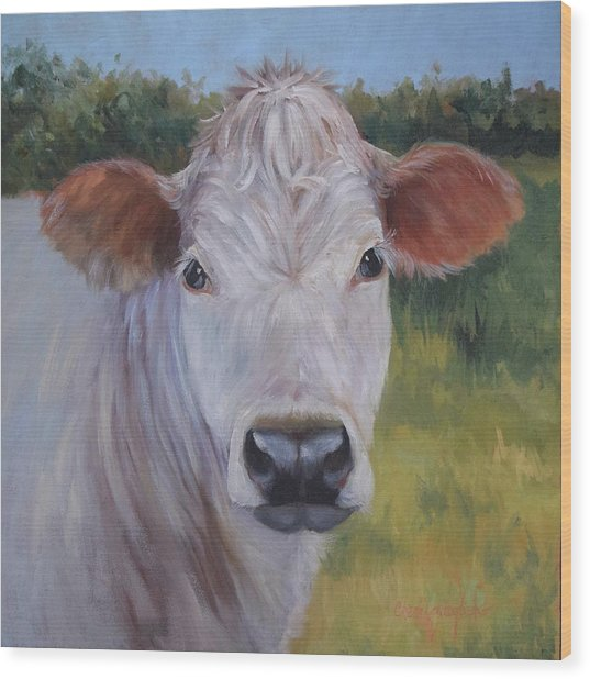 Cow Painting Ms Ivory Wood Print