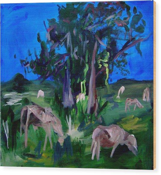 Cow Pasture   Neptune Road Wood Print by Ellen Seymour