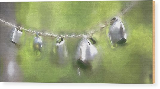 Cowbells Dancing Wood Print