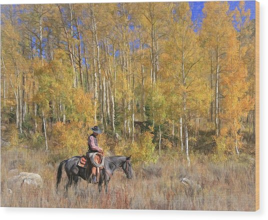 Cowboy At Work Wood Print