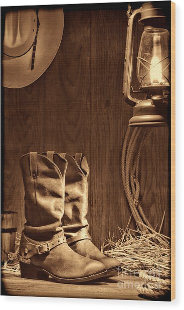 Cowboy Boots At The Ranch Wood Print