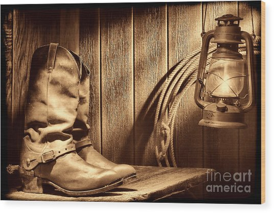 Cowboy Boots In Old Barn Wood Print