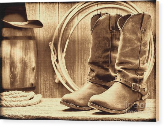 Cowboy Boots On The Deck Wood Print