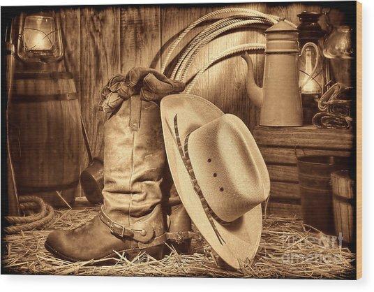Cowboy Gear In Barn Wood Print