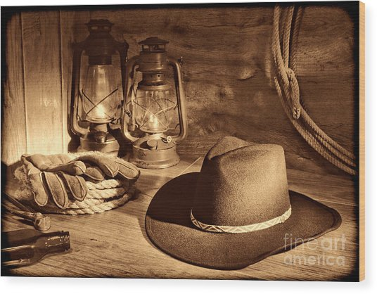 Cowboy Hat And Kerosene Lanterns Wood Print