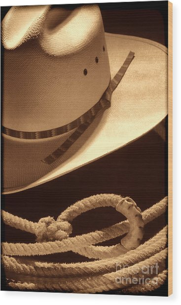 Cowboy Hat And Lasso Wood Print