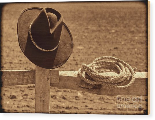 Cowboy Hat And Rope On A Fence Wood Print