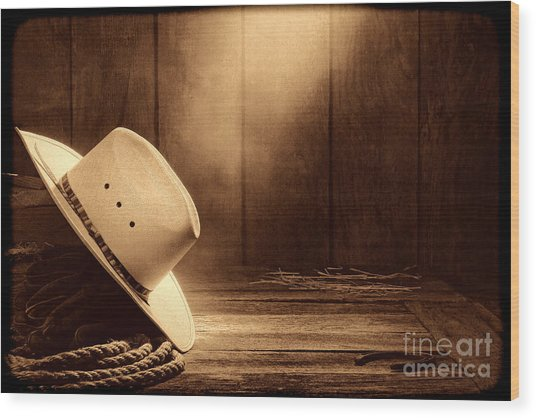 Cowboy Hat In The Old Barn Wood Print