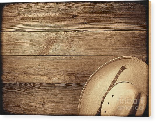 Cowboy Hat On Wood Table Wood Print